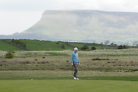 Gareth Bohill (Co. Louth) on the 14th green during round 2 of The West of Ireland Amateur Open in Co. Sligo Golf Club on Saturday 19th April 2014.<br /> Picture:  Thos Caffrey / www.golffile.ie