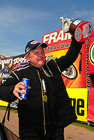 Apr. 29, 2012; Baytown, TX, USA: NHRA top dragster driver Rob McKinley celebrates after winning the Spring Nationals at Royal Purple Raceway. Mandatory Credit: Mark J. Rebilas-