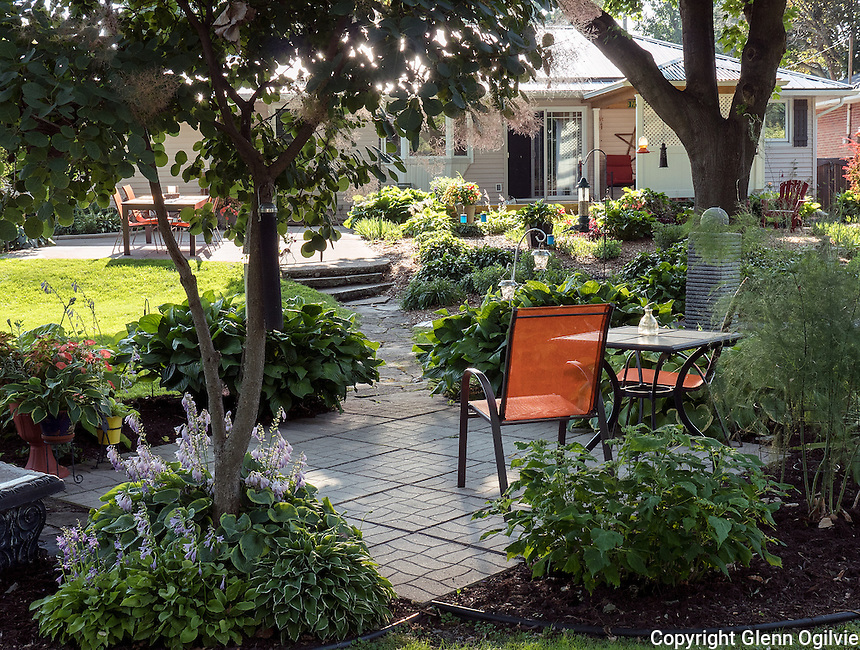 "Beautiful Yards --<br /> Joy Timmington<br /> 312 Louisa, Point Edward<br /> 519-336-1489<br /> joeandjoy@cogeco.ca<br /> <br /> Hosta hosta hosta. What was once a bare back yard has been transformed over the years to its present state. There are over 250 hosta of almost 100 varieties, from miniature to extra large and everything in between. It started with a mail order, a royal standard given to me by former neighbours, a honey bells from my sister in law and a variegated hosta my sister wanted me to try to save. These I brought with me when I moved back to the Point. The planning and planting were done, sometimes on a trial an error basis, by me. I have hired out most of the labour for the clearing of sod and stone work. My neighbours can tell when I am redoing a section, as anything I can't reuse is put up for grabs on the boulevard. ""I had no idea this was back here"" is a common phrase when someone comes around the back for the first time. Once the nice weather hits, my friends and family know where to find me....out back!<br /> <br /> Please feel free to edit to suit your needs, thanks, Joy"