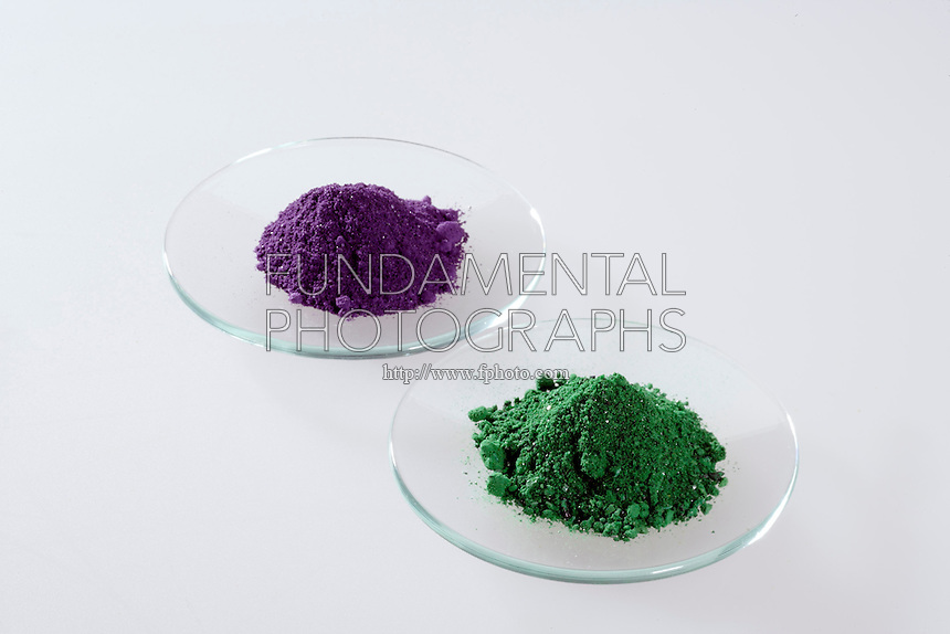 GEOMETRICAL ISOMERS: CIS(violet) &amp; TRANS(green)<br /> (Variations Available)<br /> Dichlorobis(ethylenediamine)cobalt(III) Chloride<br /> en=ethylenediamine=1, 2- diaminoethane= NH2CH2CH2NH2.  The chiral cis isomer is obtained by heating the trans isomer.  This pair of isomers were significant in the development of coordination chemistry.