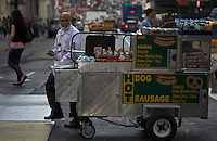 A self-employment man drives his food car at downtown Manhattan in New York. October 6, 2012. United States economy has gained 114,000 jobs, putting the jobless rate from 8.1 percent to 7.8 percent, first time it's been below 8 percent since 2009.  Photo by Eduardo Munoz Alvarez / VIEW.