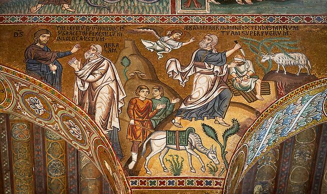 Medieval Byzantine style mosaics of the Bible story of Abraham, Palatine Chapel, Cappella Palatina, Palermo, Italy