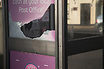 Smashed glass in BT telephone box