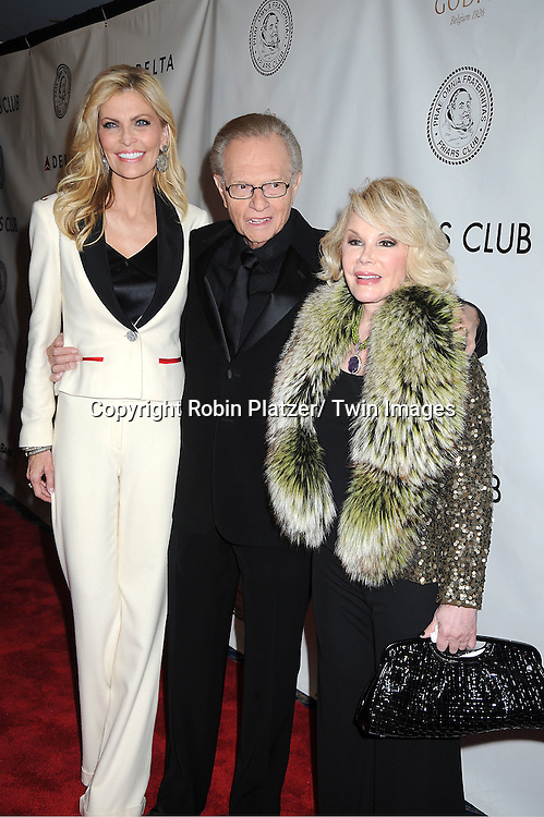 Shawn Southwick King, Larry King and Joan Rivers attend The Friars Club Honors Larry King at a Gala Dinner on November 14, 2011 at The Sheraton New York Hotel in New York City.