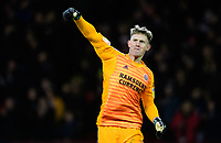 Sheffield United's Dean Henderson celebrates his sides second goal, scored by Billy Sharp<br /> <br /> Photographer Chris Vaughan/CameraSport<br /> <br /> The EFL Sky Bet Championship - Sheffield United v Blackburn Rovers - Saturday 29th December 2018 - Bramall Lane - Sheffield<br /> <br /> World Copyright © 2018 CameraSport. All rights reserved. 43 Linden Ave. Countesthorpe. Leicester. England. LE8 5PG - Tel: +44 (0) 116 277 4147 - admin@camerasport.com - www.camerasport.com