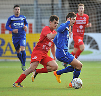 FC GULLEGEM - FC RUPEL BOOM :<br /> Daan Debouver (L) in duel met Miguel Cobos Copado (R)<br /> <br /> Foto VDB / Bart Vandenbroucke