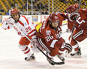 Sahir Gill (BU - 28), Luke Greiner (Harvard - 26) - The Boston University Terriers defeated the Harvard University Crimson 3-1 in the opening round of the 2012 Beanpot on Monday, February 6, 2012, at TD Garden in Boston, Massachusetts.