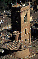 Rooftops and church seen from Torre del Mangia, Siena, Italy.