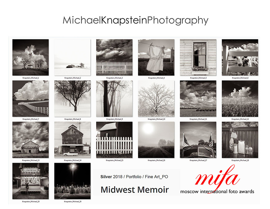 "A series of 20 images from the ""Midwest Memoir"" series won the Silver Award fpr Fine Art Portfolio in the Moscow International Fotography Awards (MIFA). Solo images also won Honorable Mention in two additional categories."