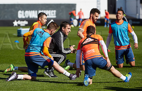 03.24.2016. Valencia CF Sports City, Training session. Valencia CF Head coach Gary Neville (3rd R) gestures during a training session.