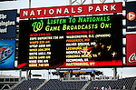 28 September 2010: The Washington Nationals outfield scoreboard lists all the local radio stations that broadcast the games in the region prior to facing the Philadelphia Phillies at Nationals Park in Washington, DC. The Nationals defeated the Phillies 2-1 on an Adam Dunn walk-off solo homer in the 9th inning to even up their 3-game series one game apiece. Mandatory Credit: Ed Wolfstein Photo
