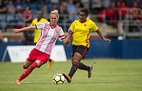 Tanya Blacksley of Stevenage Ladies & Cherrelle 'Chez' Albert of Watford Ladies during the pre season friendly match between Stevenage Ladies FC and Watford Ladies at The County Ground, Letchworth Garden City, England on 16 July 2017. Photo by Andy Rowland / PRiME Media Images.