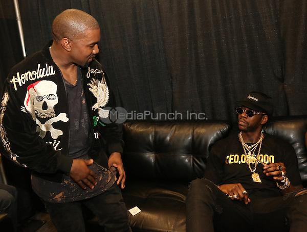 EAST RUTHERFORD, NJ - JUNE 5, 2016 Kanye West & 2 Chainz backstage at Hot 97 Summer Jam at Met Life Stadium, June 5, 2016 in East Rutherford, NJ. Photo Credit: Walik Goshorn / Media Punch