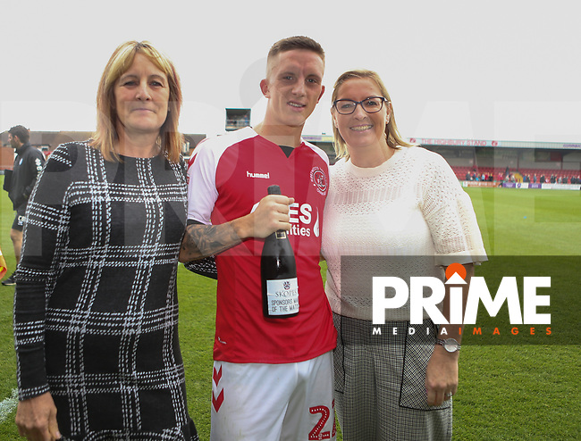 Fleetwood Town Match Ball Man of the Match Sponsor with Ashley Hunter for the Sky Bet League 1 match between Fleetwood Town and Rochdale at Highbury Stadium, Fleetwood, England on 18 August 2018. Photo by Stephen Gaunt / PRiME Media Images.