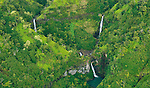 Hanapepe Waterfalls<br /> Aerial view of the lush  Hanapepe Valley and the spectacular waterfalls via helicopter<br /> Kauai, Hawaii