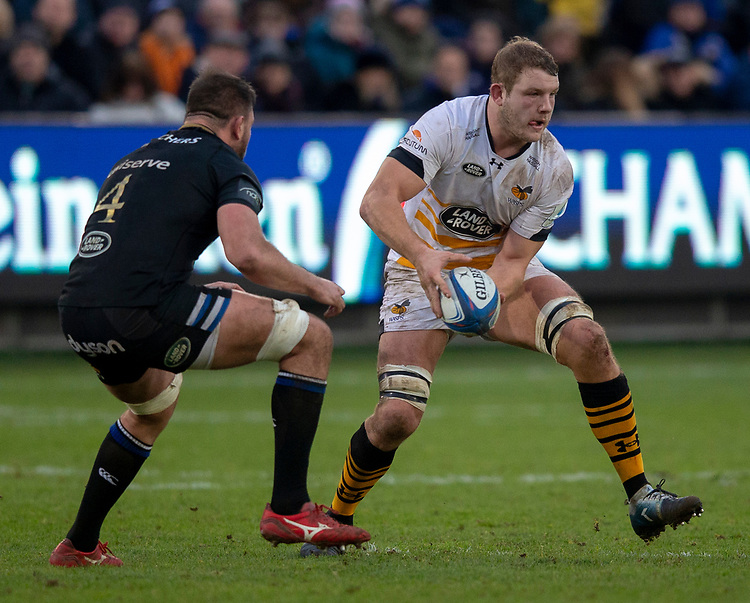 Wasps' Joe Launchbury in action during todays match<br /> <br /> Photographer Bob Bradford/CameraSport<br /> <br /> European Rugby Heineken Champions Cup Pool 1 - Bath Rugby v Wasps - Saturday 12th January 2019 - The Recreation Ground - Bath<br /> <br /> World Copyright © 2019 CameraSport. All rights reserved. 43 Linden Ave. Countesthorpe. Leicester. England. LE8 5PG - Tel: +44 (0) 116 277 4147 - admin@camerasport.com - www.camerasport.com