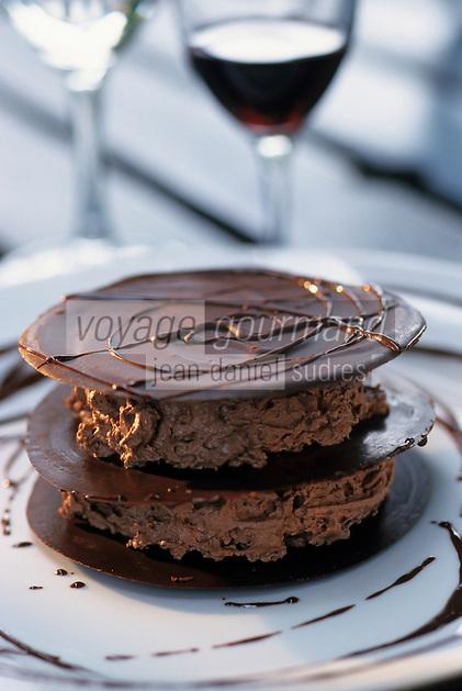 """Europe/France/Aquitaine/64/Pyrénées-Atlantiques/Biarritz: Gâteau au chocolat - Recette d'Arnaud Daguin chef du restaurant """"Les Platanes"""""""