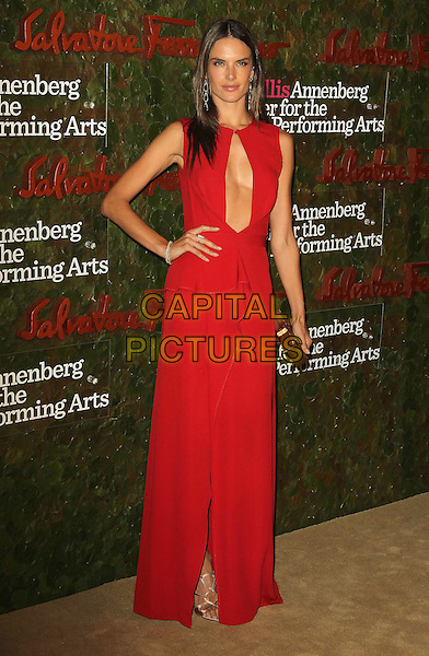 Alessandra Ambrosio<br /> Wallis Annenberg Center For The Performing Arts Inaugural Gala held at Wallis Annenberg Center For The Performing Arts,  Beverly Hills, California, USA, 17th October 2013.<br /> full length red dress cut out hand on hip long maxi sleeveless <br /> CAP/ADM/KB<br /> &copy;Kevan Brooks/AdMedia/Capital Pictures