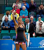 June 12th 2017,  Nottingham, England; WTA Aegon Nottingham Open Tennis Tournament day 3; Qualifier Jana Fett of Croatia thanks the crowd after beating 7th seed  Mona Barthel of Germany 6-3 5-7 7-5; Fett saved 3 match points before winning