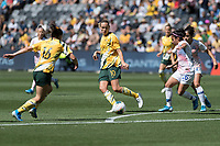 9th November 2019; Bankwest Stadium, Parramatta, New South Wales, Australia; International Womens Friendly Football, Australia versus Chile; Emily van Egmond of Australia passes the ball through to Hayley Raso of Australia on the top of the box - Editorial Use