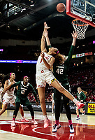 COLLEGE PARK, MD - FEBRUARY 03: Shakira Austin #1 of Maryland sends a shot over Kayla Belles #42 of Michigan State during a game between Michigan State and Maryland at Xfinity Center on February 03, 2020 in College Park, Maryland.