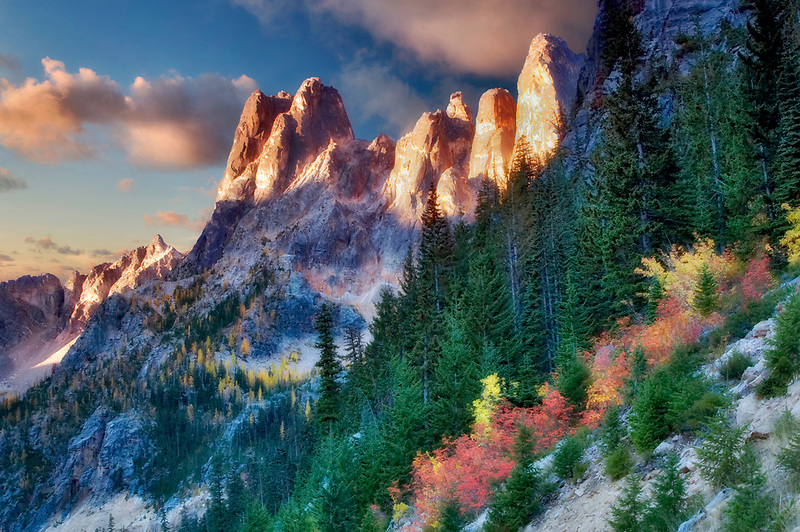 Liberty Bell Mountain with fall colored vine maple and sunrise. North Cascades National Park. Washington