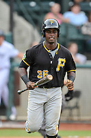 Designated hitter Huascar Fuentes (36) of the Bristol Pirates in a game against the Pulaski Yankees on Tuesday, July 5, 2016, at Calfee Park in Pulaski, Virginia. Pulaski won, 6-3. (Tom Priddy/Four Seam Images)