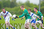 3321 -  Finuges Vincent Murphy cv St Marys Conor Galvin in the Division 2 League clash in Finuge on Saturday ..