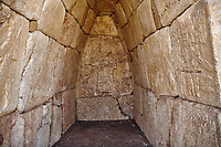 A cult chamber built by Suiluliuma II, 1200 BC, with Hieroglyphic stone panelled walls. Hattusa (also Ḫattuša or Hattusas) late Anatolian Bronze Age capital of the Hittite Empire. Hittite archaeological site and ruins, Boğazkale, Turkey.