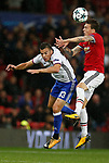 Victor Lindelof of Manchester United (R) wins a header from Kevin Bua of Basel during the Champions League Group A match at the Old Trafford Stadium, Manchester. Picture date: September 12th 2017. Picture credit should read: Andrew Yates/Sportimage