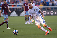 SAN JOSÉ CA - JULY 27: Magnus Eriksson #7 during a Major League Soccer (MLS) match between the San Jose Earthquakes and the Colorado Rapids on July 27, 2019 at Avaya Stadium in San José, California.