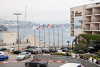 Fairmont Hotel, Monte Carlo, Monaco, 19 April 2013. The Hairpin Turn of the Monaco Grand Prix, one of the best-known bends of the race, passes right in front of the hotel.