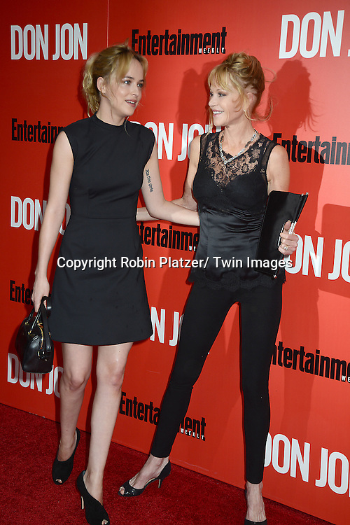 """Dakota Johnson and her mother Melanie Griffith attends the """"Don Jon"""" New York Movie Premiere on September 12, 2013 at the SVA Theatre in New York City."""