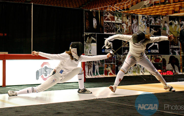 4 MAR 2008: Kelley Hurley of Notre Dame and Reka Szele of St. John's battle for the gold medal during Division I Women's Fencing Championship held at St. John Arena on the Ohio State University campus in Columbus, OH. Hurley defeated Szele 11-10 to claim the gold medal. Renee Sauer/NCAA Photos