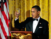 United States President Barack Obama offers a toast after making remarks as he and first lady Michelle Obama host a dinner to honor our Armed Forces who served in Operation Iraqi Freedom and Operation New Dawn and to honor their families in the East Room of the White House in Washington, D.C. on Wednesday, February 29, 2012..Credit: Ron Sachs / Pool via CNP