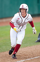 STANFORD, CA - April 2, 2011: Sarah Hassman of Stanford softball edges down the third base line during Stanford's game against Arizona at Smith Family Stadium. Stanford lost 6-1.