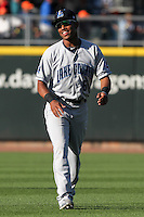 Lake County Captains outfielder Luigi Rodriguez #6 smiles prior to the game against the Dayton Dragons at Fifth Third Field on June 25, 2012 in Dayton, Ohio. Lake County defeated Dayton 8-3. (Brace Hemmelgarn/Four Seam Images)