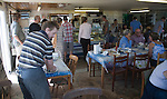 Interior of the Company Shed fish restaurant, West Mersea, Mersea Island, Essex, England