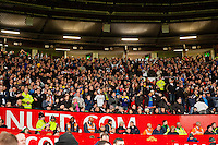 Sunday 05 January 2014<br /> Pictured: Swans fans<br /> Re: Manchester Utd FC v Swansea City FA cup third round match at Old Trafford, Manchester