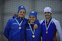 SCHAATSEN: GRONINGEN: Sportcentrum Kardinge, 02-02-2013, Seizoen 2012-2013, Gruno Bokaal, Maurice Vriend, Koen Verweij, Frank Hermans, ©foto Martin de Jong