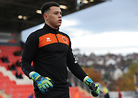 Blackpool's Myles Boney during the pre-match warm-up <br /> <br /> Photographer Kevin Barnes/CameraSport<br /> <br /> Emirates FA Cup First Round - Exeter City v Blackpool - Saturday 10th November 2018 - St James Park - Exeter<br />  <br /> World Copyright &copy; 2018 CameraSport. All rights reserved. 43 Linden Ave. Countesthorpe. Leicester. England. LE8 5PG - Tel: +44 (0) 116 277 4147 - admin@camerasport.com - www.camerasport.com