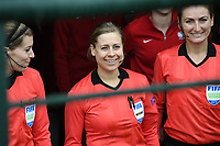 20190409 - TUBIZE , Belgium : Dutch assistant refere Nicolet Bakker , Dutch referee Lizzy Van Der Helm and Kazach assistant referee Elena Alistratova (r) pictured during a women soccer game between the under 19 teams of Belgium and Poland. This is the Third and final game in their elite round qualification for the European Championship in Schotland 2019. The Belgian national women's soccer team is called the Red Flames, on the 9 th of April in Tubize. PHOTO DAVID CATRY | Sportpix.be