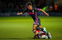 Leeds United's Jamie Shackleton is tackled by Salford City's Richie Towell<br /> <br /> Photographer Alex Dodd/CameraSport<br /> <br /> The Carabao Cup First Round - Salford City v Leeds United - Tuesday 13th August 2019 - Moor Lane - Salford<br />  <br /> World Copyright © 2019 CameraSport. All rights reserved. 43 Linden Ave. Countesthorpe. Leicester. England. LE8 5PG - Tel: +44 (0) 116 277 4147 - admin@camerasport.com - www.camerasport.com