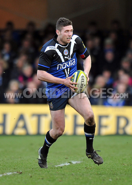 Jack Cuthbert in possession. LV= Cup match, between Bath Rugby and Exeter Chiefs on January 26, 2013 at the Recreation Ground in Bath, England. Photo by: Patrick Khachfe / Onside Images