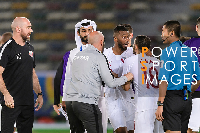 Abdel Aziz Hatim of Qatar (R2) celebrates after scoring his goal with his teammates during the AFC Asian Cup UAE 2019 Quarter Finals match between Qatar (QAT) and South Korea (KOR) at Zayed Sports City Stadium  on 25 January 2019 in Abu Dhabi, United Arab Emirates. Photo by Marcio Rodrigo Machado / Power Sport Images