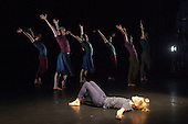 """17/12/2013. London, England. Pictured: Hannah Rudd at front. Rambert Dance Company present an """"Evening of new choreography"""" with five new works choreographed by members of the Company at the Lilian Baylis Studio, Sadler's Wells, London.  Piece: """"Hikikomori"""" choregraphed by Malgorzata Dzierzon with Luke Ahmet, Lucy Balfour, Adam Blyde, Carolyn Bolton, Antonette Dayrit, Hannah Rudd, Pierre Tappon and Simone Damberg Würtz dancing. Photo credit: Bettina Strenske"""