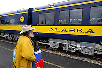 Jim James waits to board the Hurricane Turn train at the station in Talkeetna, Alaska.The Alaska Railroad's Hurricane Turn is one of America's last true whistlestop trains.