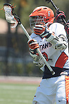 Orange, CA 05/02/10 - Jesse Luchansky (CS Fullerton # 3) and Andrew Acker (Biola # 14) in action during the Biola-Cal State Fullerton MCLA SLC Division II final game in Wilson Field at Chapman University.  CS Fullerton earned a consecutive appearance at the Nationals by defeating Biola 12-7.