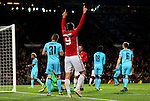 Zlatan Ibrahimovic of Manchester United celebrates after scoring his sides third goal during the UEFA Europa League match at Old Trafford, Manchester. Picture date: November 24th 2016. Pic Matt McNulty/Sportimage
