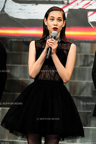 Actress Kiko Mizuhara speaks during the Japan premiere of the film ''Attack On Titan'' on July 21, 2015. The Japanese film is based on the manga series of the same name, written by Hajime Isayama. The film is divided into two parts; the first part will hit theaters across Japan on August 1st and the second part, entitled ''Attack on Titan: End of the World'', is scheduled for release on September 19, 2015. (Photo by Rodrigo Reyes Marin/AFLO)